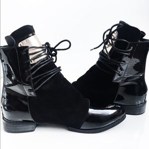 Black Patent and Suede Ankle Boots
